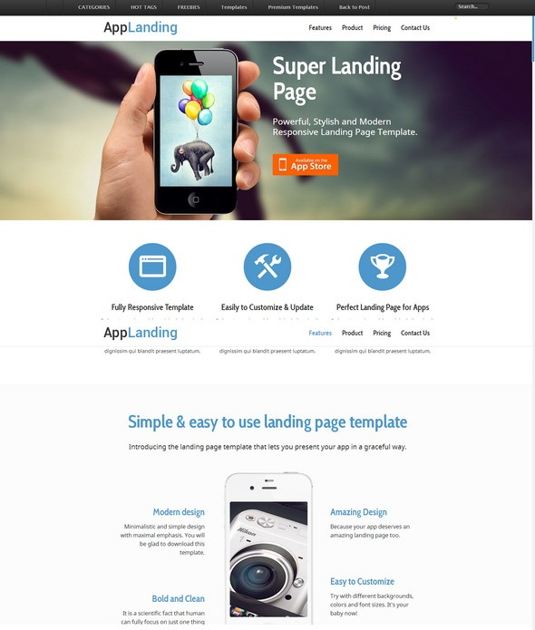 Free Retina Ready Responsive App Landing Page Website Template