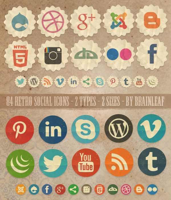 Free Retro Social Icons by BRAINLEAF