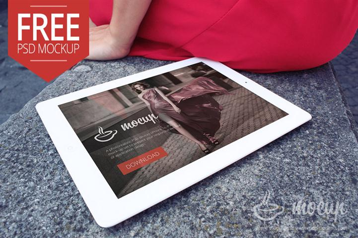 Free iPad Mockup Lady in Italy (Small)