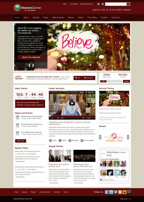 heaven corner church theme - Church Website Design Ideas
