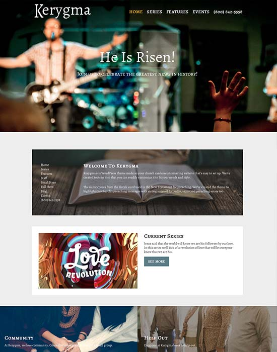 Kerygma - Responsive WordPress Theme for Church