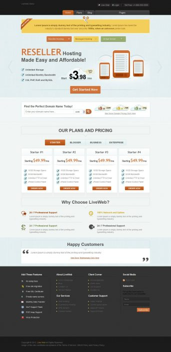 LiveWeb - WordPress Web Hosting Template