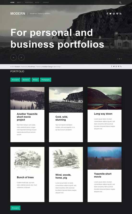 Modern Free portfolio WordPress theme