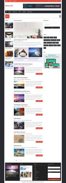 NewsBT Responsive Magazine Blogger Template