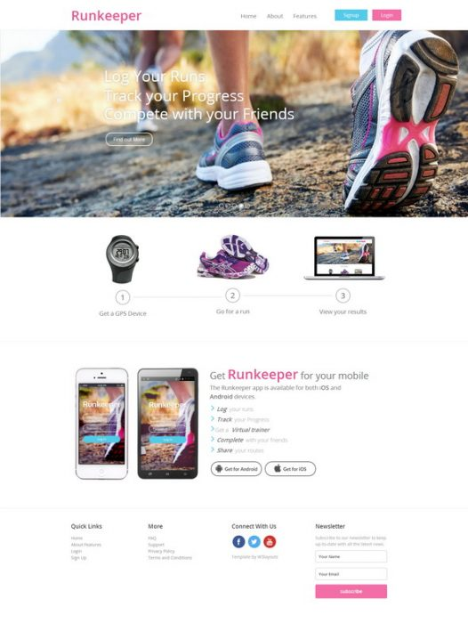 Runkeeper a mobile app Responsive web Template