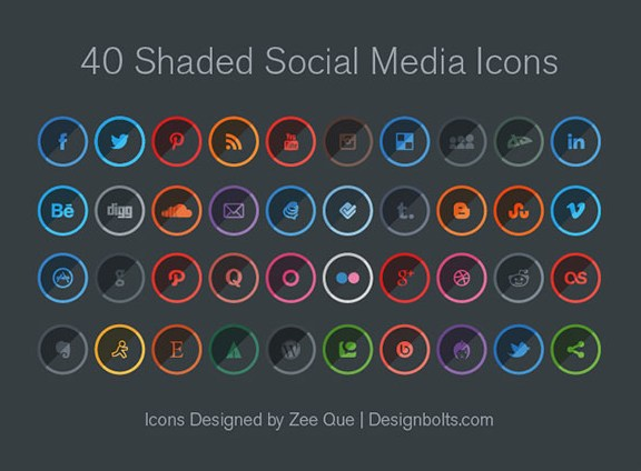 Shaded Social Media Icons