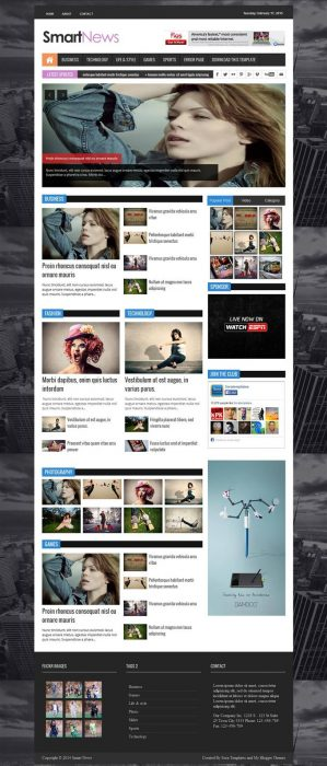 Smart News Responsive Magazine Blogger Template
