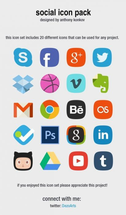 Social Icon Pack designed by anthony konkov