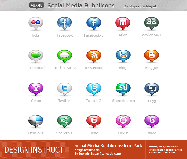 Social Media Bubblicons Icon Pack