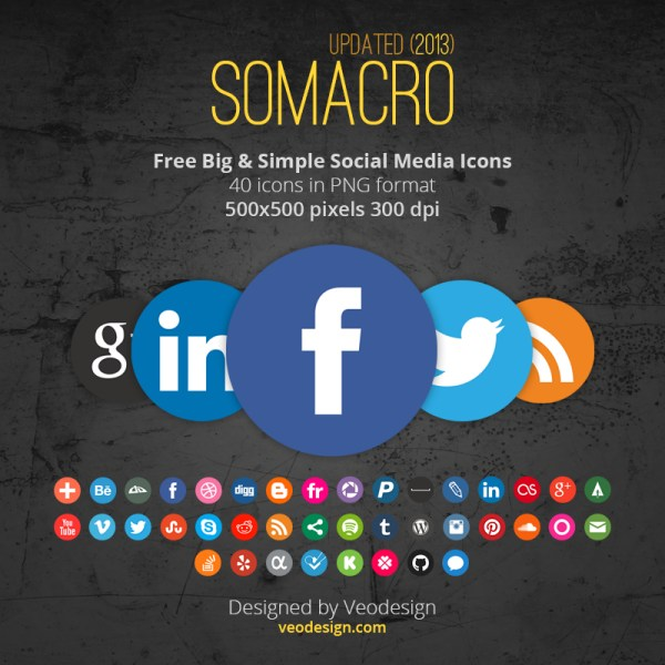 Somacro  45 300DPI Social Media Icons