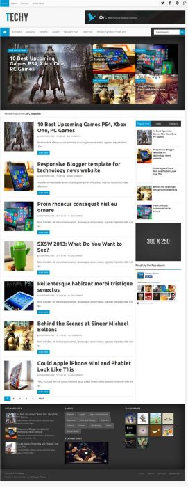 Techy Magazine News Blogger Template