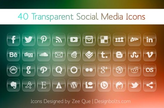 Transparent Social Media Icons