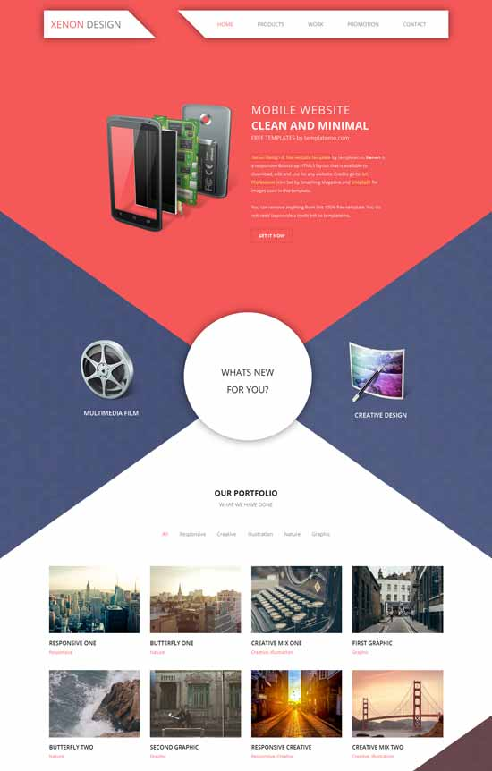 Xenon free HTML5 responsive website template