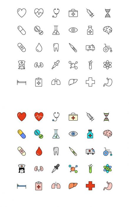 30 Free Medical & Science Line & Color Icons (Custom)