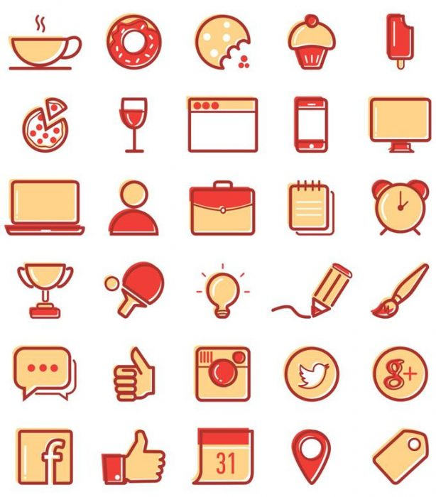 30 Free Vector Line Icons (Custom)