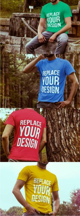4 Free T-shirt Mock-up Templates (Custom)
