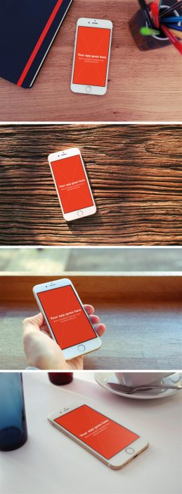 4 iPhone 6 Photo MockUps (Custom)