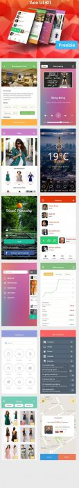 Ace iOS8 Mobile UI Kit Freebie (Custom)