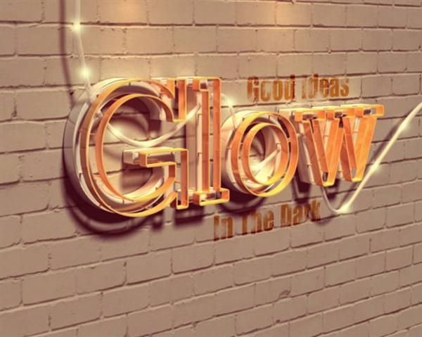 Adobe Photoshop tutorial Glowing 3D Text (Custom)
