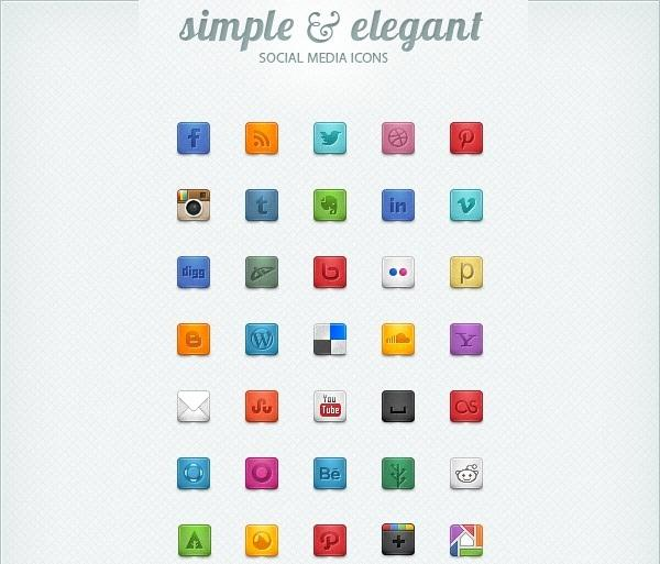 Beautiful & Free Social Media Icons (Custom)