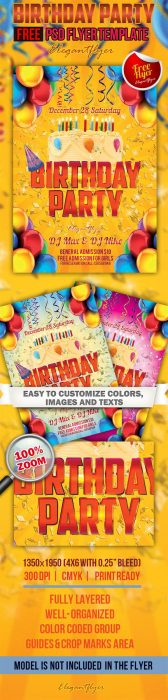Birthday Party – Free Club and Party Flyer PSD Template (Custom)