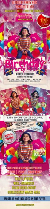 Birthday Party Kids – Club and Party Free Flyer PSD Template (Custom)