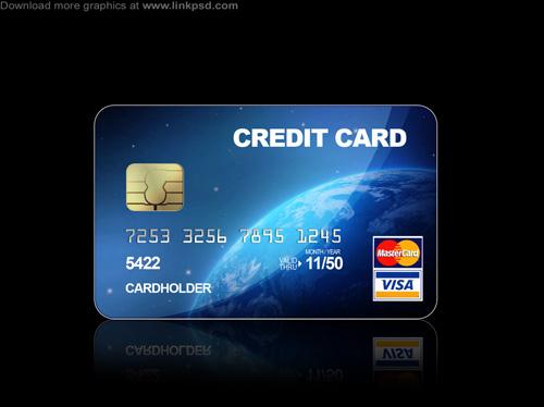 Blue Credit cards PSD file (Custom)