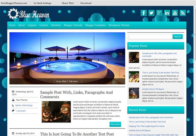 BlueHeaven Responsive Personal Blog Blogger Template (Custom)