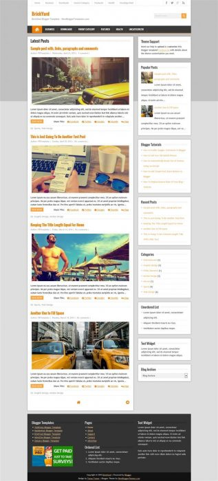 BrickYard Blogger Template (Custom)