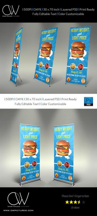 Burger Restaurant Signage Banner Vol3 (Custom)