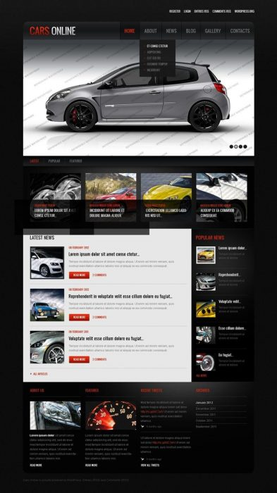 CARS ONLINE Free WordPress Responsive Template (Custom)