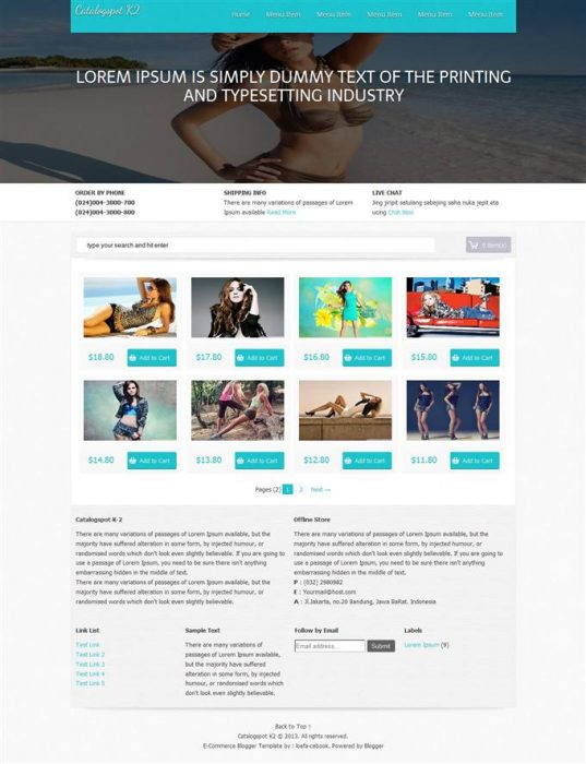 Catalogspot K2 E-Commerce Blogger Template (Custom)