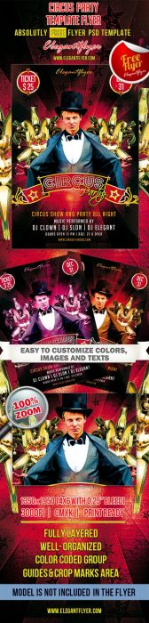 Circus Party – Club and Party Free Flyer PSD Template (Custom)