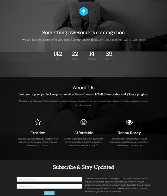 Coming Soon  Under Construction Responsive Template