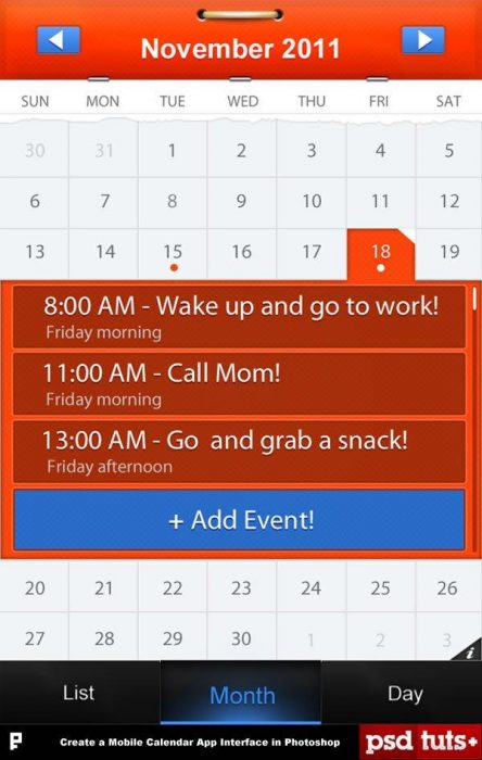 Create a Mobile Calendar App in Photoshop (Custom)