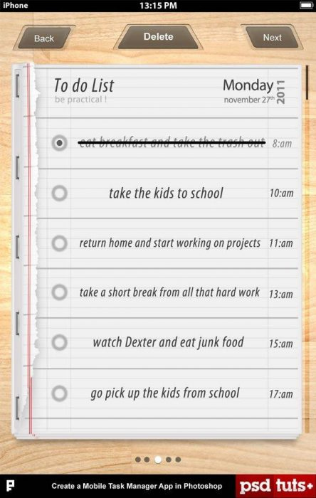 Create a Mobile Task Manager App in Photoshop (Custom)