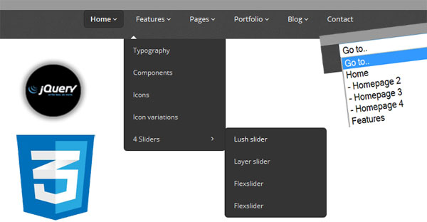 Creating 3-Level Responsive Drop Down Navigation Menu with jQuery CSS3