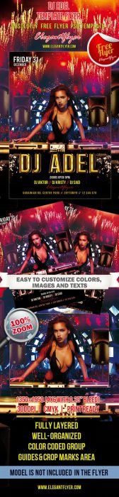 DJ Adel – Club and Party Free Flyer PSD Template (Custom)