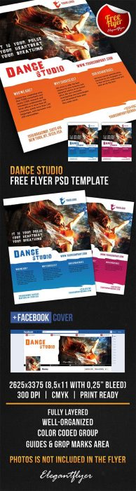 Dance Studio – Free Flyer PSD Template + Facebook Cover (Custom)