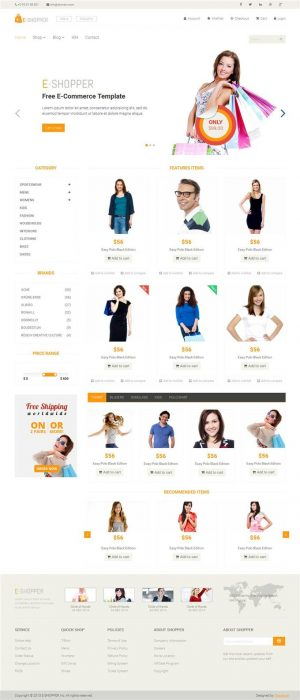 E-Shopper Ecommerce Blogger Template (Custom)