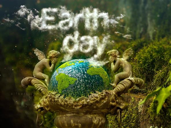 Earth Day and Realistic Clouds Text Effect Photoshop (Custom)