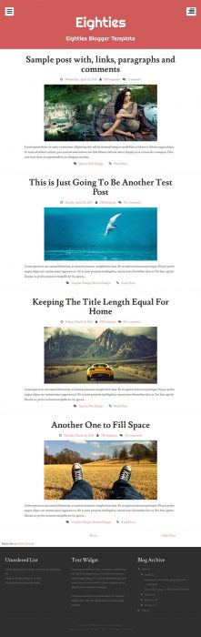Eighties Responsive Personal Blog Blogger Template (Custom)