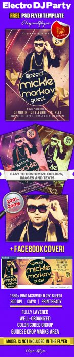 Electro DJ Party – Free Flyer PSD Template + Facebook Cover (Custom)