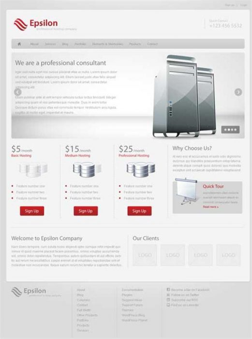 Epsilon - Hosting and Business WordPress Theme (Custom)