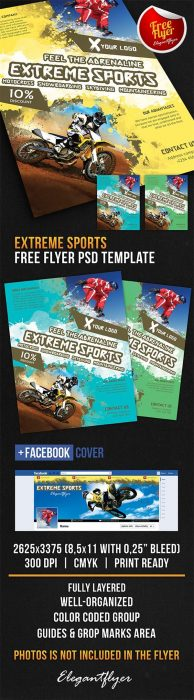 Extreme Sports – Free Flyer PSD Template + Facebook Cover (Custom)