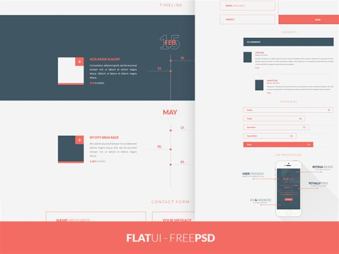 FREEBIE PSD Flat UI Kit (Custom)