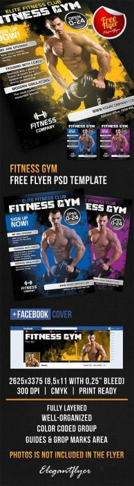 Fitness Gym – Free Flyer PSD Template + Facebook Cover (Custom)