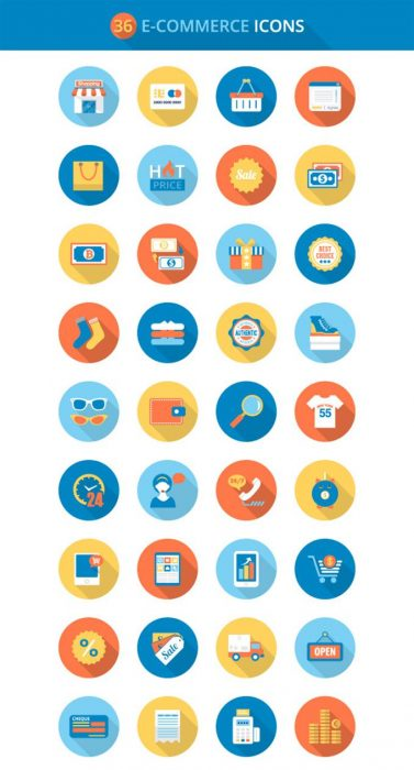 Flat E-commerce Icons Set (Custom)