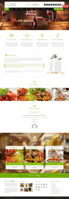 Foodeez Lite Beautiful Restaurant WordPress Theme (Custom)
