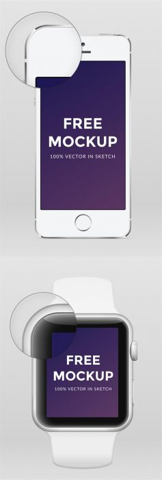 Free Apple Watch iPhone 6 & iPhone 5 .sketch Mockup (Custom)